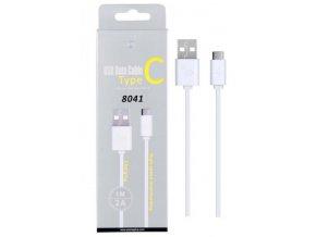 Datový a nabíjecí kabel PLUS, USB-C, délka 1m, 2A, USB 2.0, (8041), bílý