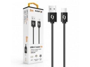 Datový a nabíjecí kabel ALIGATOR 2A USB-C 2m, černý