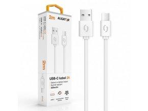 Datový kabel ALIGATOR 2A USB-C 2m, bílý