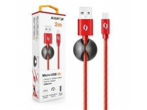 Datový kabel ALIGATOR PREMIUM 2A, Micro USB 2m červený