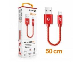Datový kabel ALIGATOR PREMIUM 2A, Micro USB 50cm červený