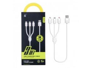 Nabíjecí kabel PLUS 3v1, 2x iPhone Lightning + 1x Micro USB, délka 1m, 2A, rychlé nabíjení (AU402)