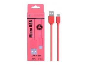 Datový a nabíjecí kabel PLUS, Micro USB, (AS115), červený