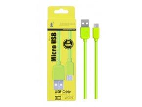 Datový a nabíjecí kabel PLUS, Micro USB, (AS115), zelený