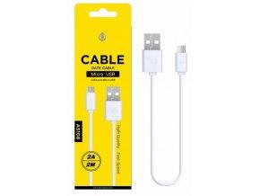 Datový a nabíjecí kabel PLUS, Micro USB 2A/2M, (AS108), bílý