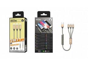 Nabíjecí kabel PLUS B5096 ,3v1, Micro,Type-C,iPh, spirála, 2A, zlatý