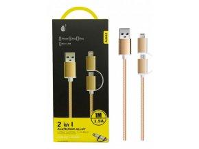 Datový kabel PLUS 2 v 1 (Micro USB+ Lightning), 1M 2A(AU405), gold