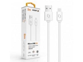 Datový kabel ALIGATOR 2A micro USB 2m, bílý