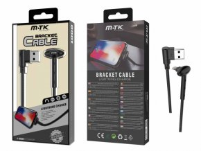 Datový kabel PLUS BT655 pro iPhone, stojánek, 2A, černý