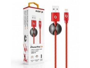 Datový kabel ALIGATOR PREMIUM 2A, Lightning červený