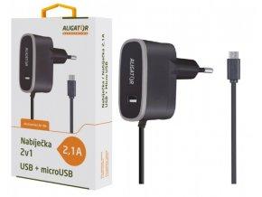 Nabíječka ALIGATOR MicroUSB s USB výst 5V/2,1A, černá