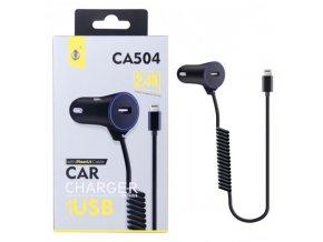 Nabíječka do auta PLUS CA504 s kabelem pro iPhone lightning, výstup 2.4A, černá