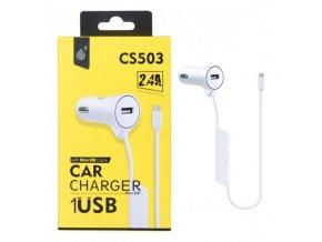 Nabíječka do auta PLUS CS503 s MicroUSB kabelem a 1x USB výstupem 2,4A, bílá