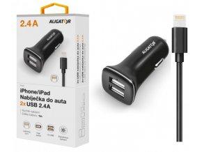 Nabíječka do auta ALIGATOR pro iPh 5/6/7/8 s 2xUSB výstupem 2,4A, Turbo charge, černá