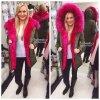 Trendy PARKA s hot pink kožíškem, SKLADEM
