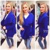 Krátký flaušový kabát ROYAL BLUE, SKLADEM