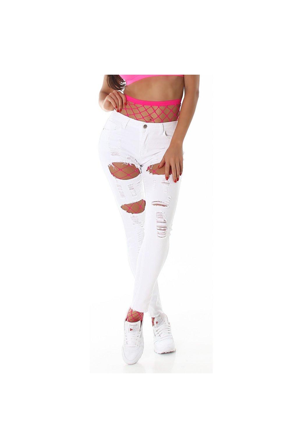 Bílé trhané skinny jeans Jela London - Bestmoda f177a2f618