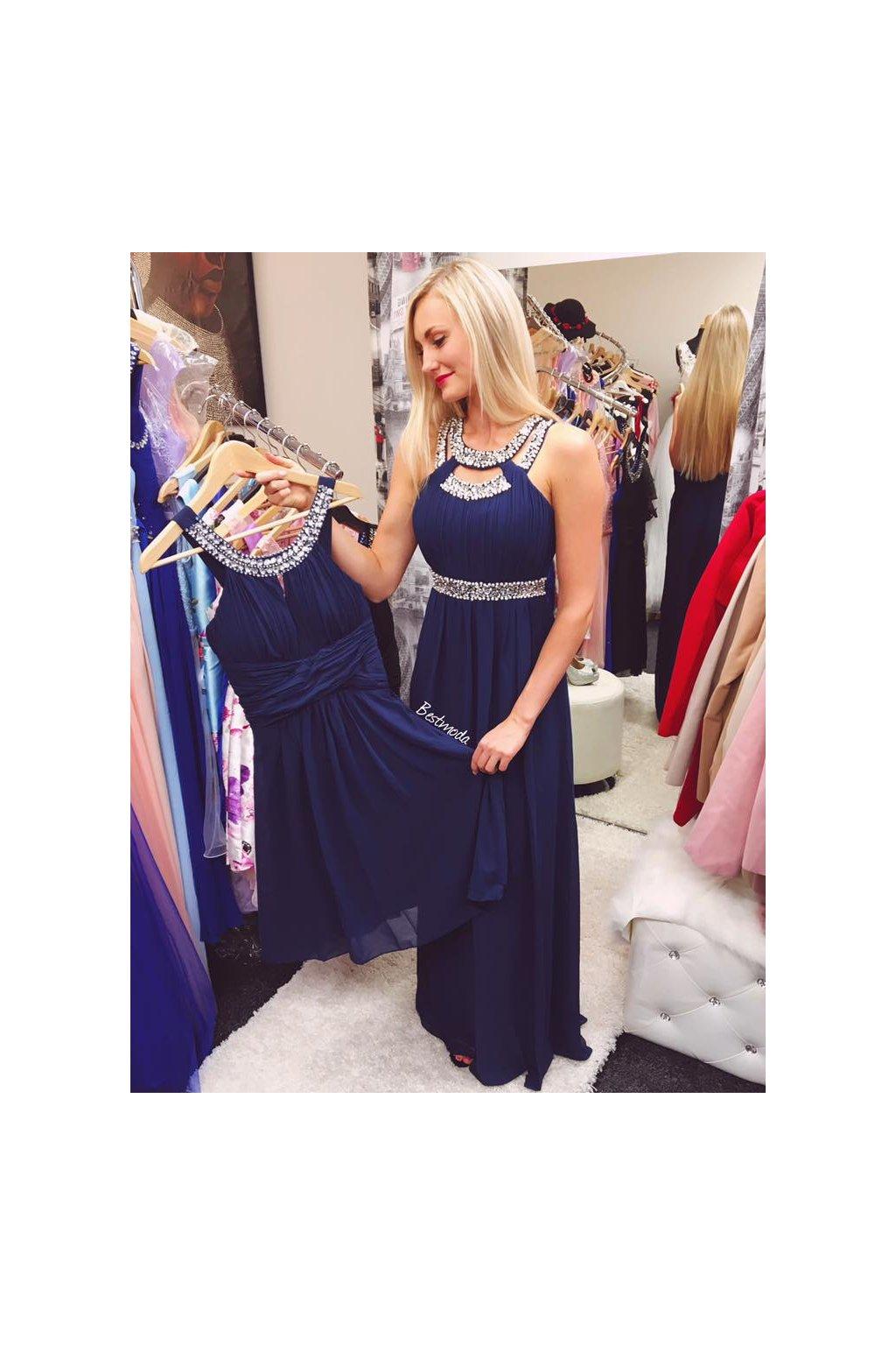 ... tmave modre paris. Tmavě modré společenské šaty ... c1799d9a44