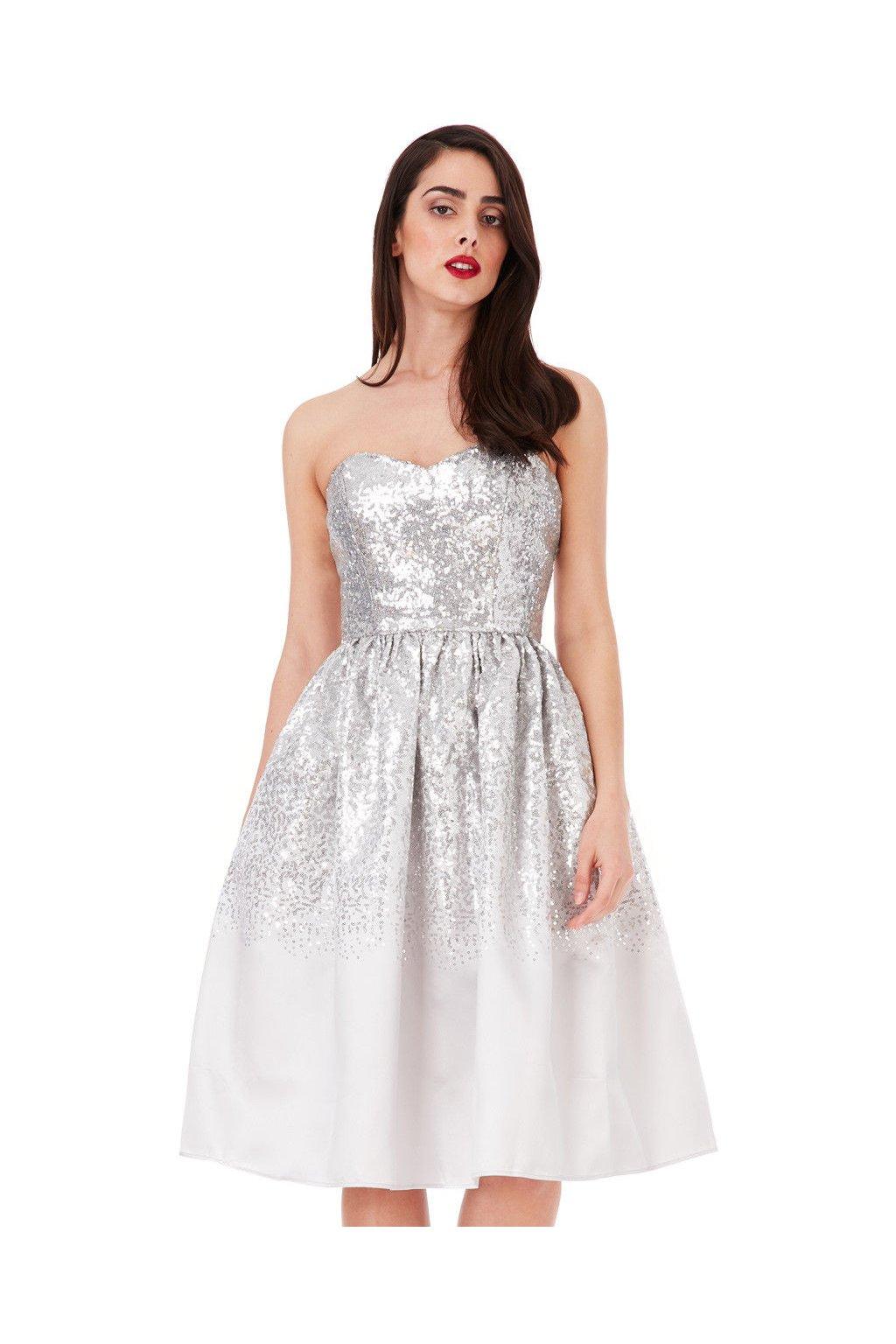 Stříbrné koktejlové šaty Goddiva skladem - Bestmoda cb417d9cd93