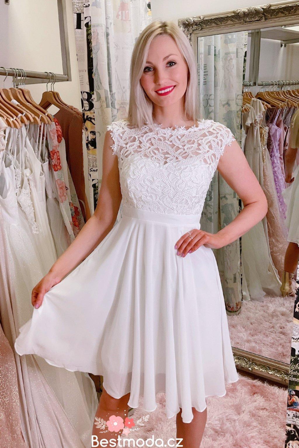 Bílé společenské šaty Eva Lola s krajkou