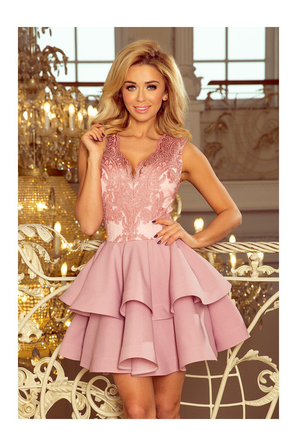 Růžové koktejlové šaty Charlotte Numoco - Bestmoda 55bc40478e4