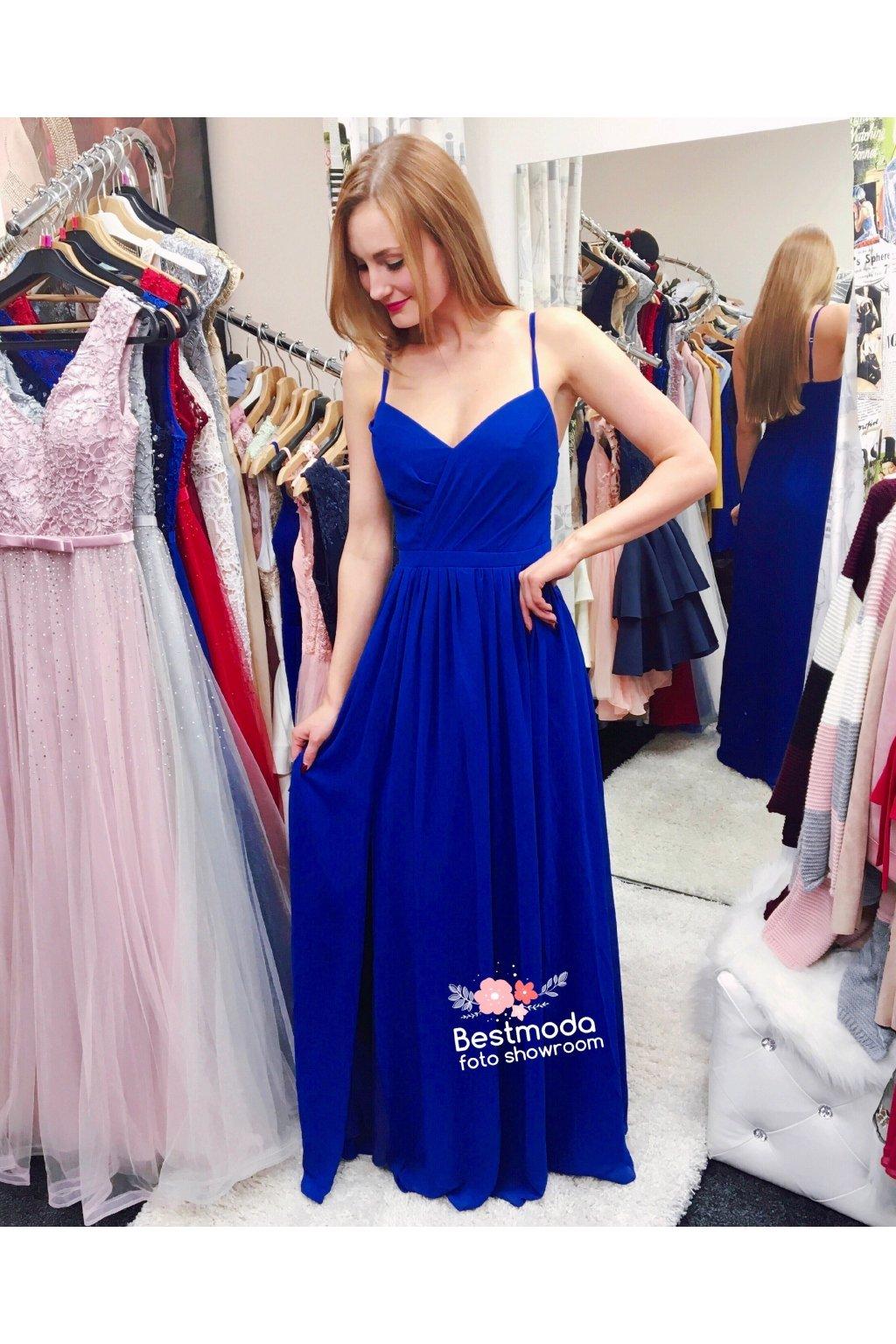 Královsky modré společenské šaty Eva Lola s rozparkem - Bestmoda 7fe5cccb031
