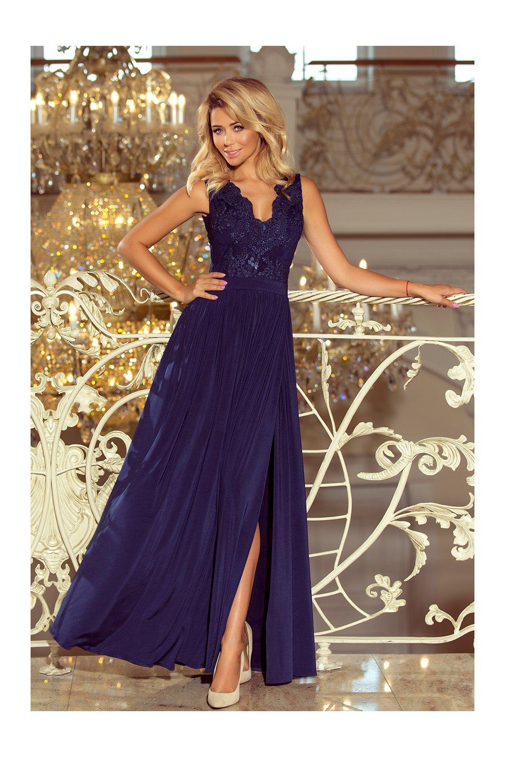 Tmavě modré společenské šaty s krajkou a rozparkem - Bestmoda d883c945bbb