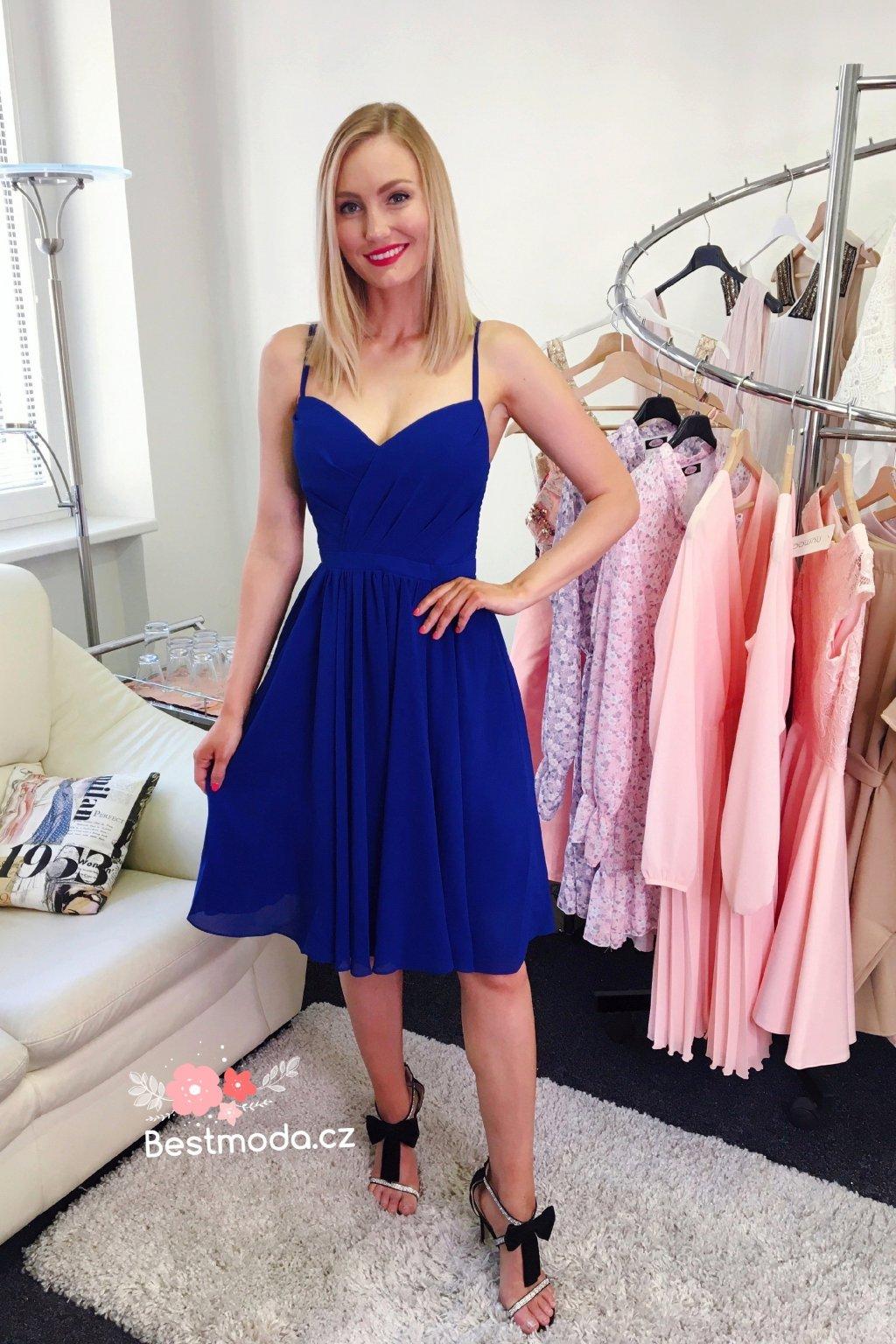 Královsky modré koktejlové šaty Eva & Lola