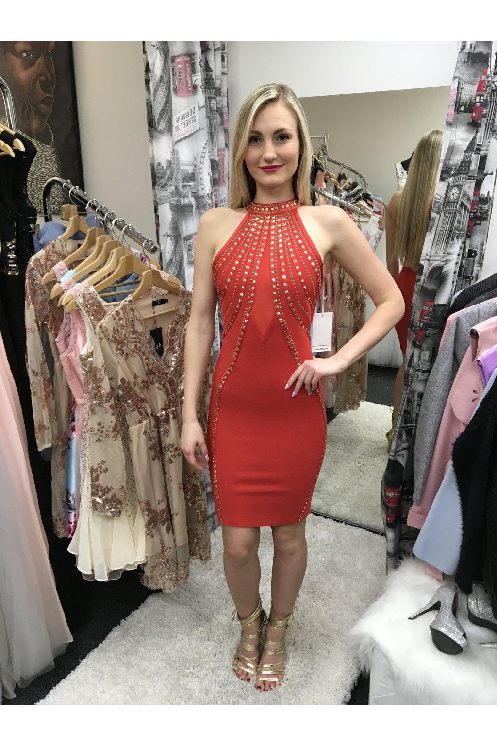 Červené pouzdrové bandážové šaty