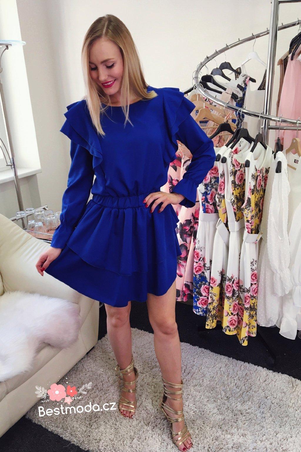 Královsky modré volánkové šaty s rukávy