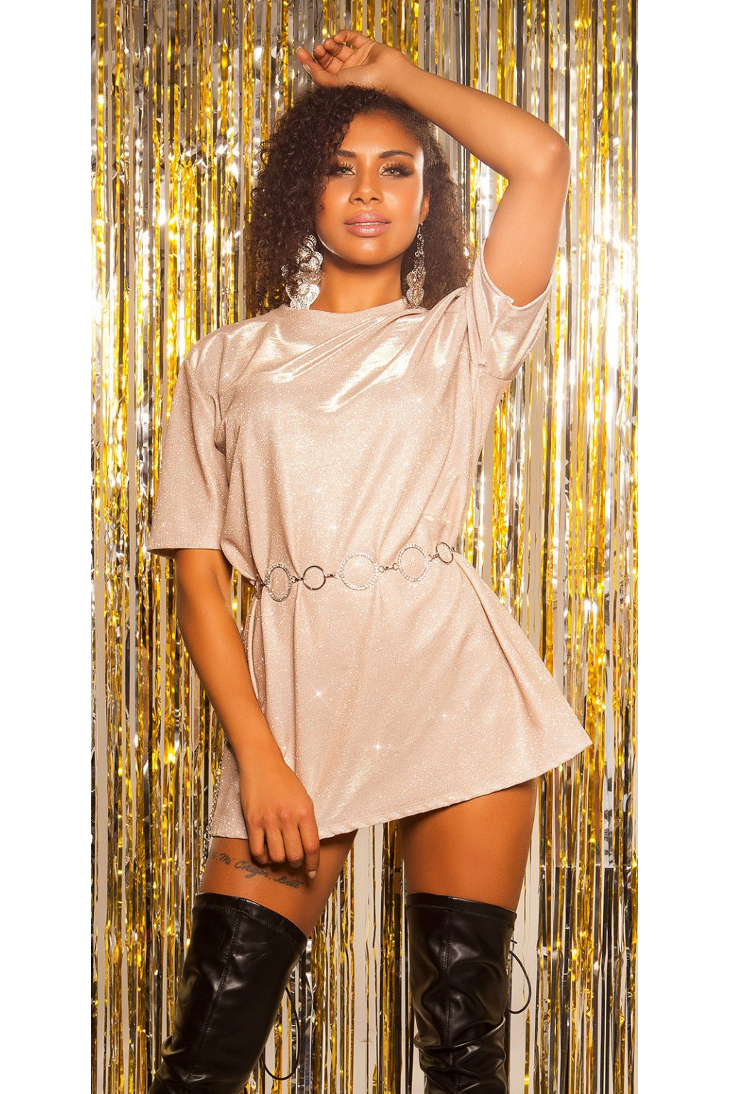 eeLeT s PaRTY glitter shirt dress Color ROSE Size Einheitsgroesse 0000SK11130 ROSE 55