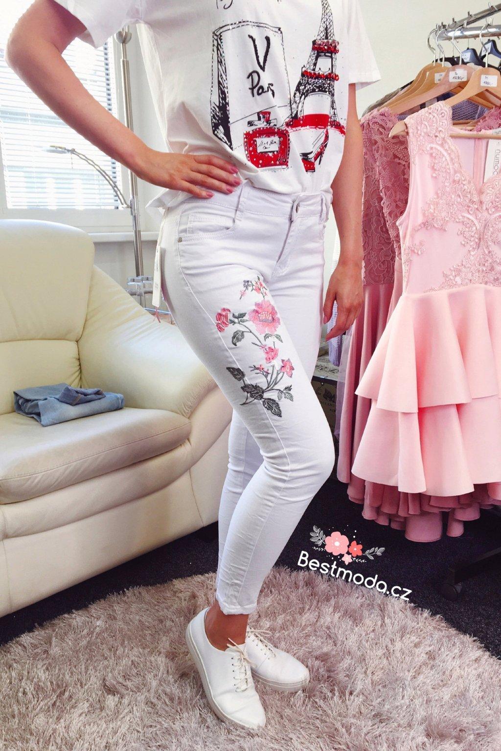 Bílé skinny jeans Flower s vyšívanou aplikací