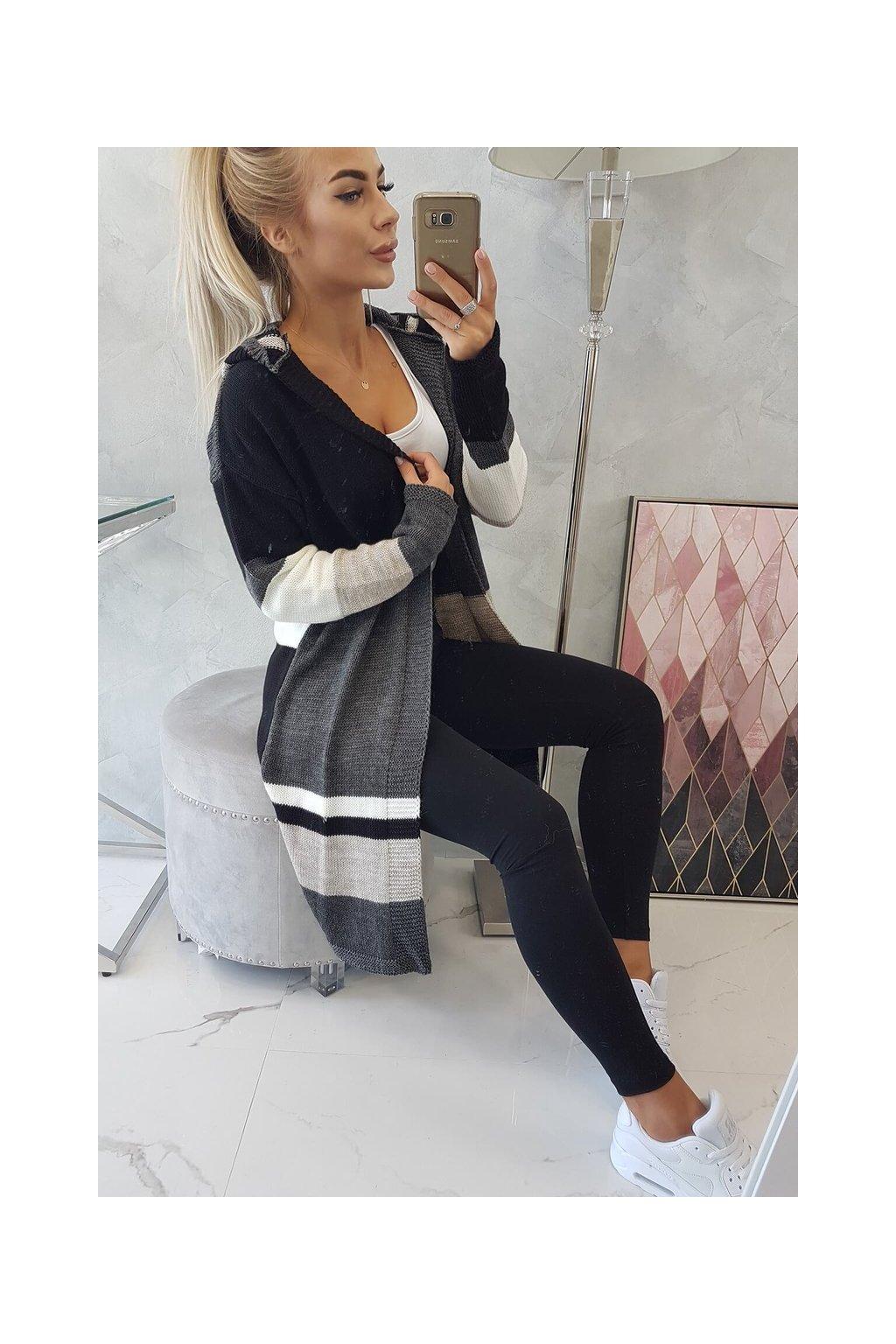 eng pl Four color striped sweater graphite beige black 18295 7