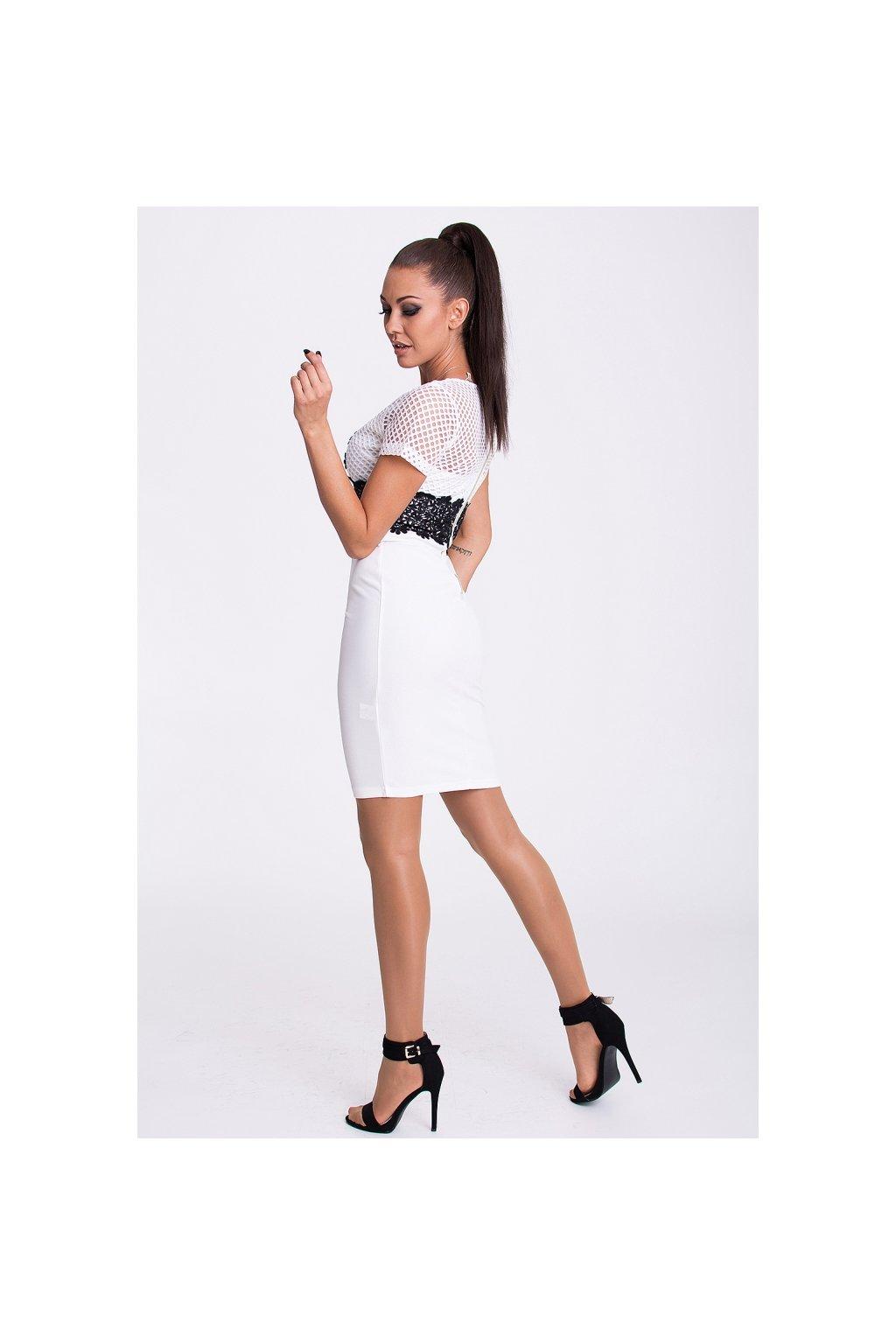 7e67aa223e4 ... Bílo-černé šaty EMAMODA PARIS