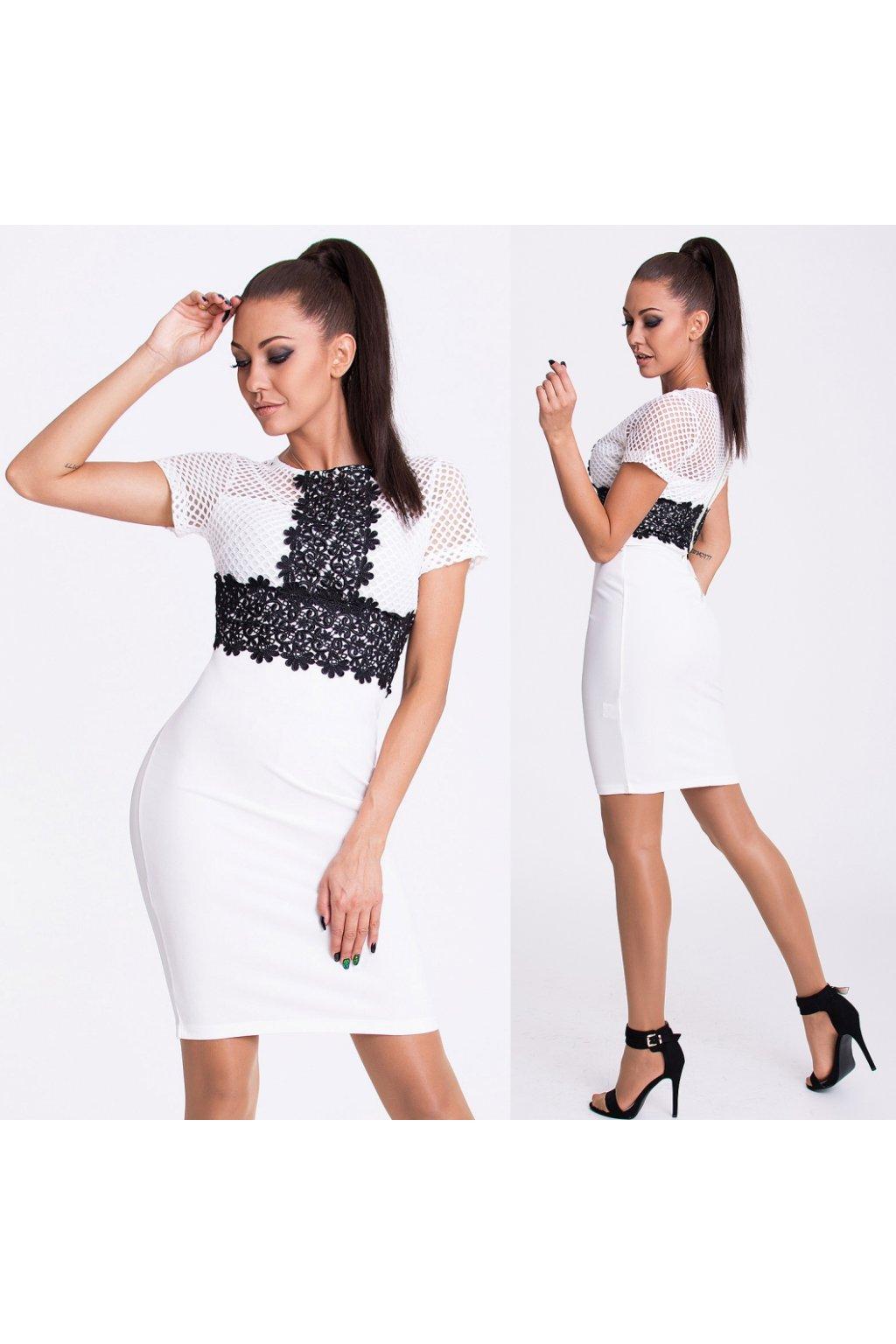 d8679177c5e Bílo-černé šaty EMAMODA PARIS