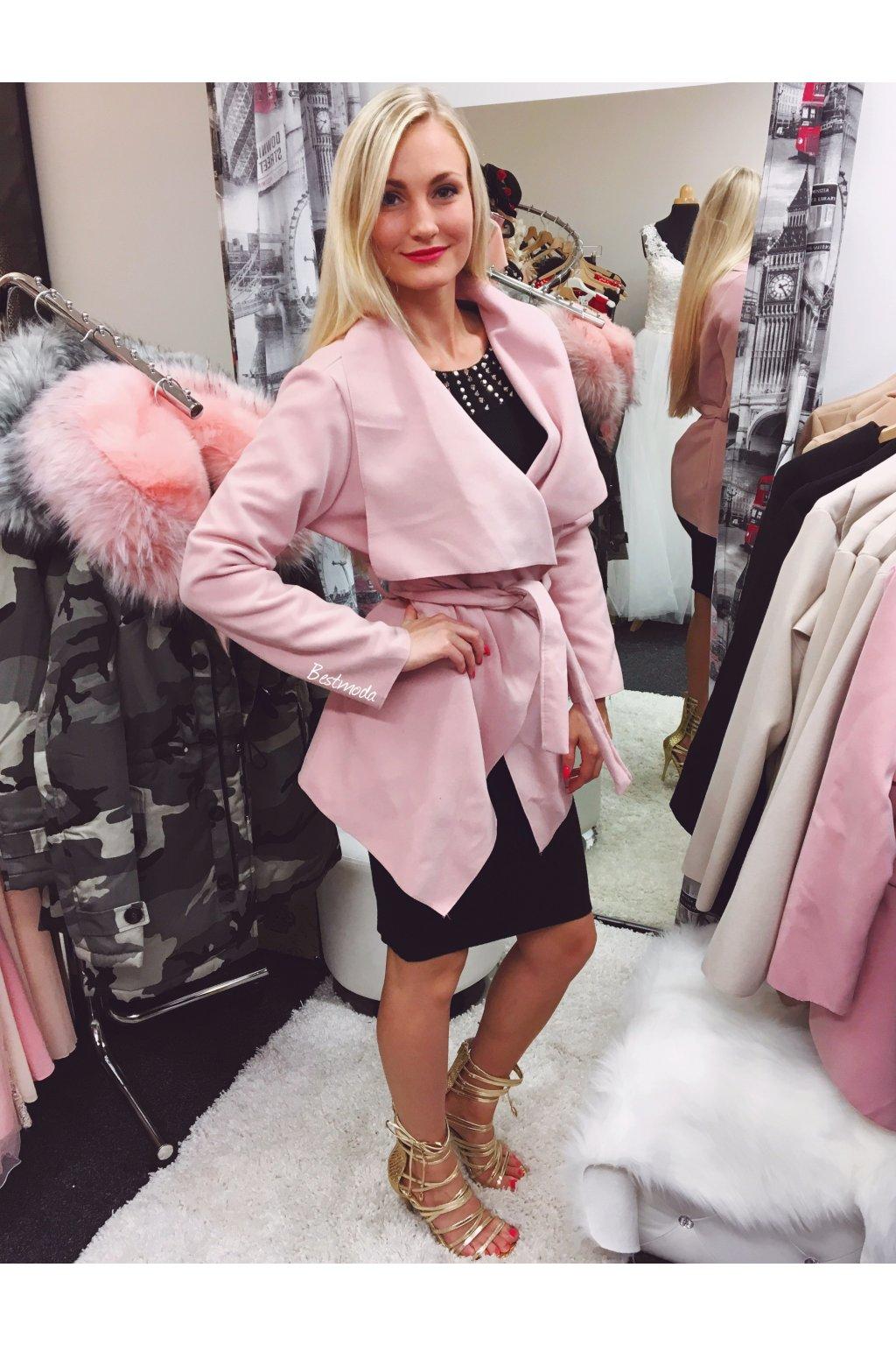 Růžový flaušový kabát, SKLADEM