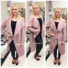 Růžový flaušový kabát LONG, SKLADEM