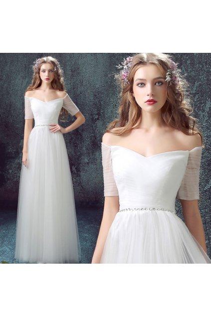 Bílé svatební šaty s decentním zdobením, SKLADEM