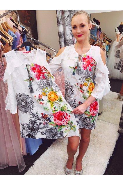 Bílé letní květované šaty, SKLADEM