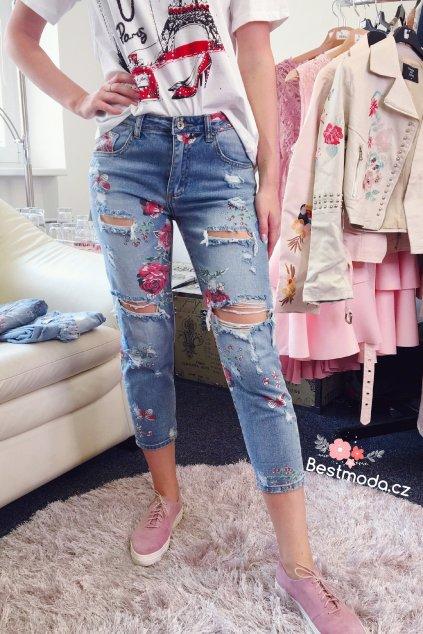 Trhané jeans s potiskem, SKLADEM