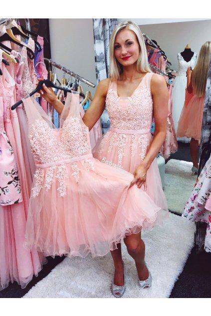 Meruňkové společenské šaty PARIS, k DODÁNÍ IHNED