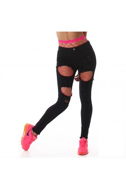 Černé trhané skinny jeans Jela London