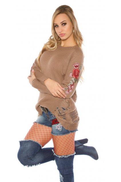 Hřejivý svetr s výšivkami, SKLADEM