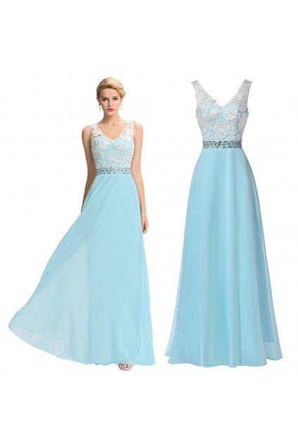 Světle modré společenské šaty s krajkou, SKLADEM