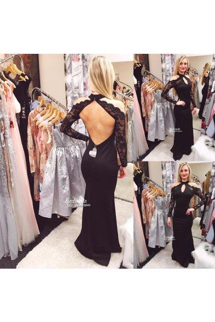 Černé společenské šaty s dlouhými rukávy skladem