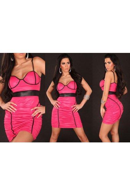 Designerské šaty v růžovo-černém provedení, k DODÁNÍ IHNED