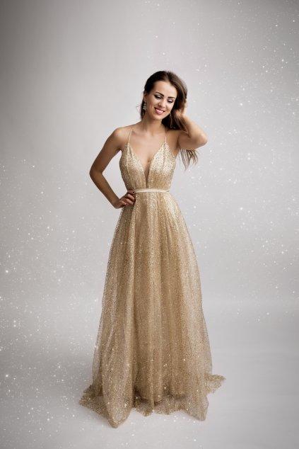 Zlaté společenské šaty Eva Lola ec3d96c2ac