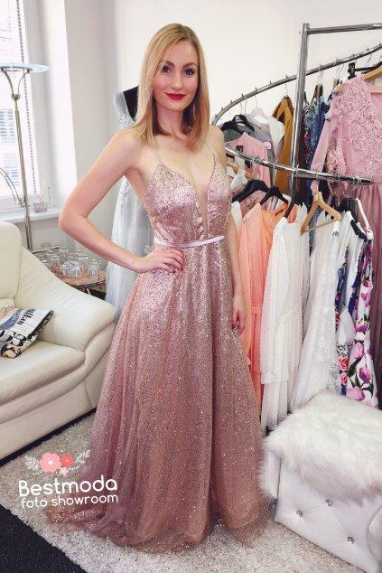 Růžovo-zlaté třpytivé společenské plesové šaty