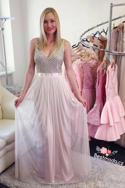 Pastelové společenské šaty Goddiva