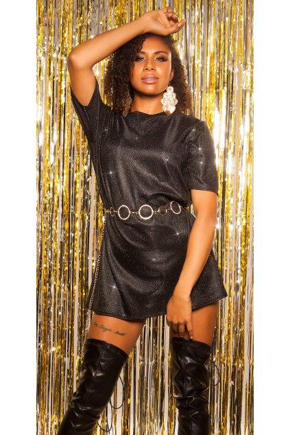 černé třpytivé šaty tunika